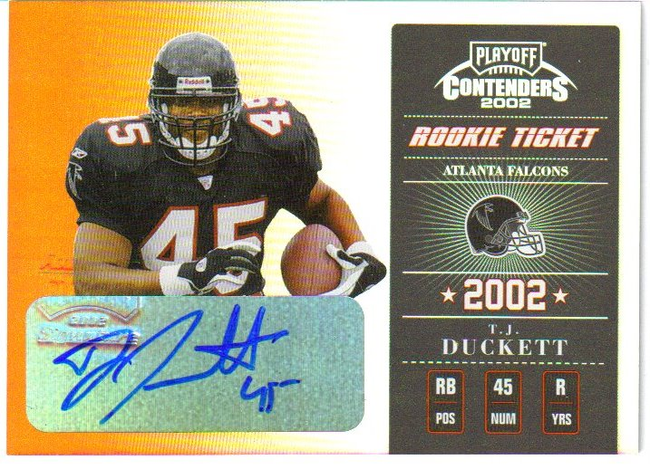 2002 Playoff Contenders #173 T.J. Duckett AU/335 RC