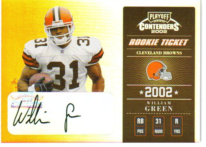2002 Playoff Contenders #178 William Green AU/317 RC
