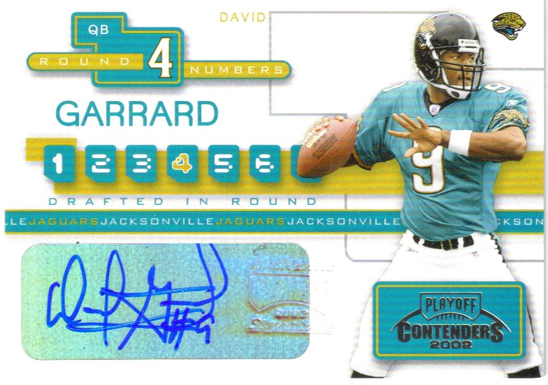 2002 Playoff Contenders Round Numbers Autographs #RN8 David Garrard/Rohan Davey