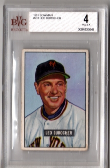 1951 Bowman #233 Leo Durocher BVG VG-EX New York GIANTS!