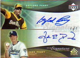2005 Reflections Dual Signatures Platinum #GPJP Gaylord Perry/Jake Peavy
