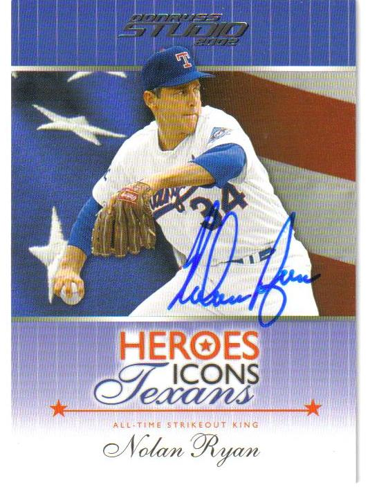 2002 Studio Heroes Icons Texans #HIT2 Nolan Ryan AU/32 front image