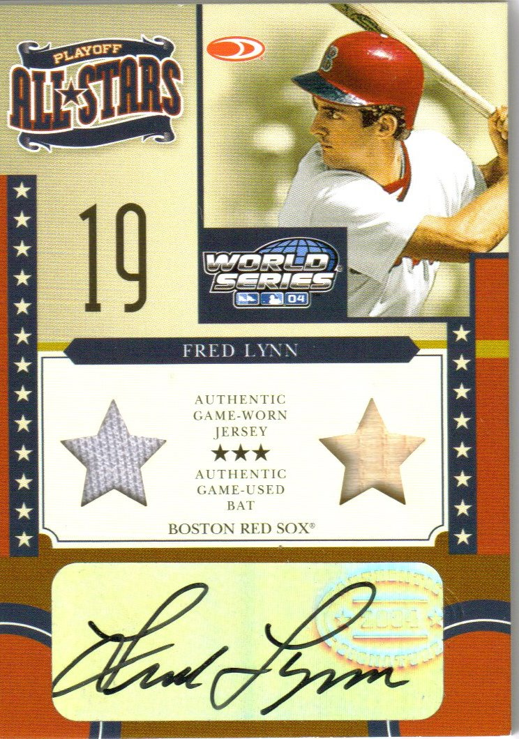 2004 Donruss World Series Playoff All-Stars Signature Material 2 #14 Fred Lynn Bat-Jsy/50