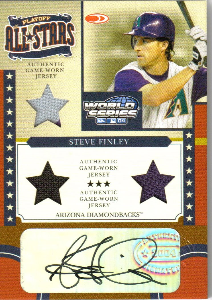 2004 Donruss World Series Playoff All-Stars Signature Material 3 #3 Steve Finley Jsy-Jsy-Jsy/100