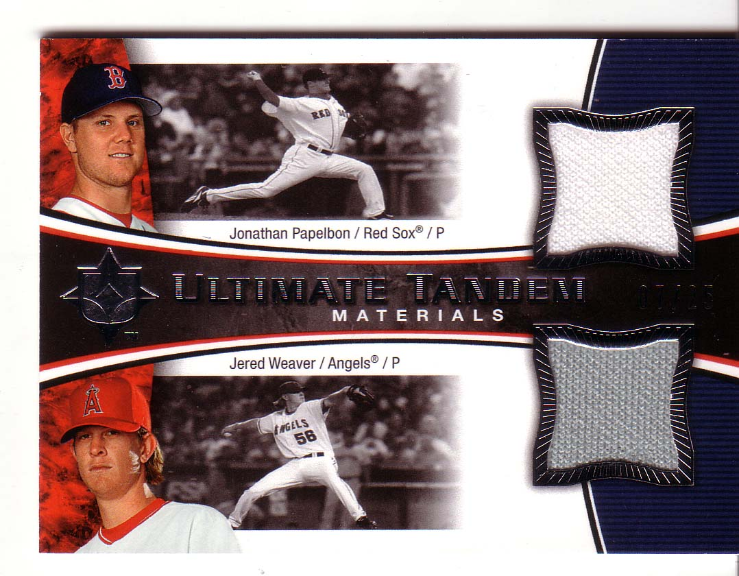 2006 Ultimate Collection Tandem Materials #WP Jonathan Papelbon Jsy/Jered Weaver Jsy
