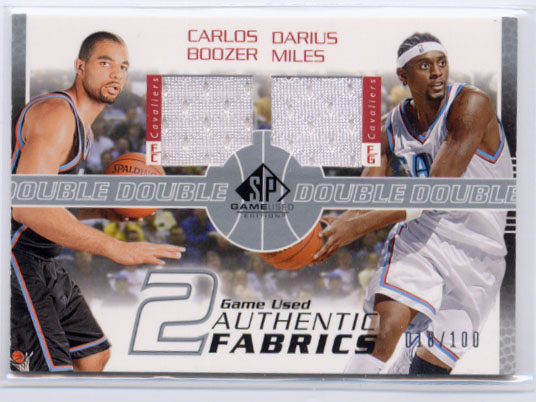 2003-04 SP Game Used Authentic Fabrics Dual #CBDMJ Carlos Boozer/Darius Miles