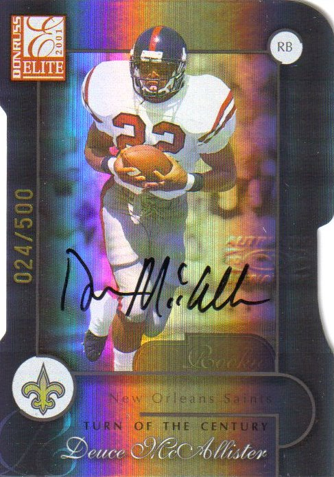2001 Donruss Elite Turn of the Century Autographs #112 Deuce McAllister front image
