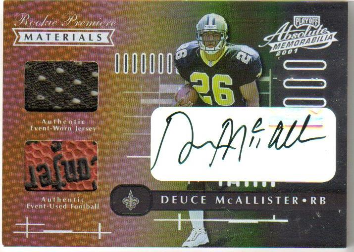 2001 Absolute Memorabilia Rookie Premiere Materials Autographs #156 Deuce McAllister