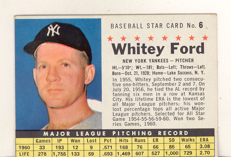 1961 Post #6A Whitey Ford COM
