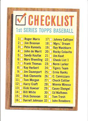 1962 Topps #22B Checklist 1 COR (33-88 on Back)