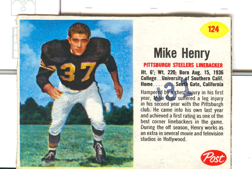 1962 Post Cereal #124 Mike Henry