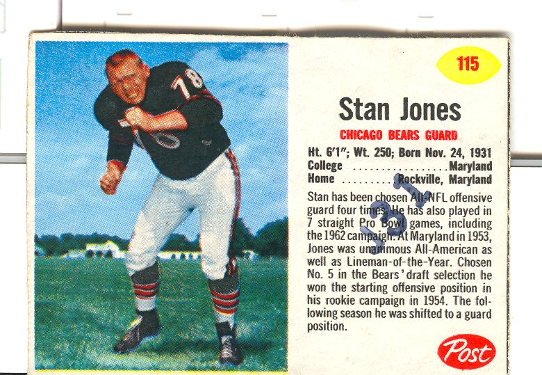 1962 Post Cereal #115 Stan Jones