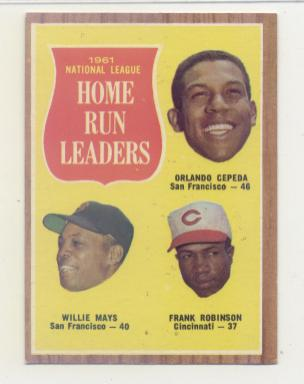 1962 Topps #54 NL Home Run Leaders/Orlando Cepeda/Willie Mays/Frank Robinson front image