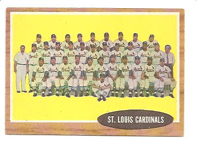1962 Topps #61 St. Louis Cardinals TC