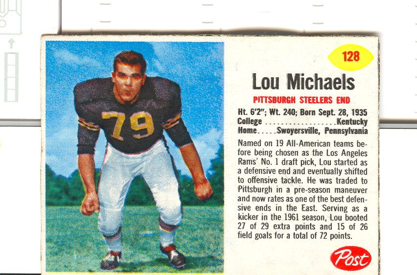 1962 Post Cereal #128 Lou Michaels
