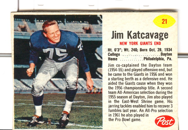 1962 Post Cereal #21 Jim Katcavage