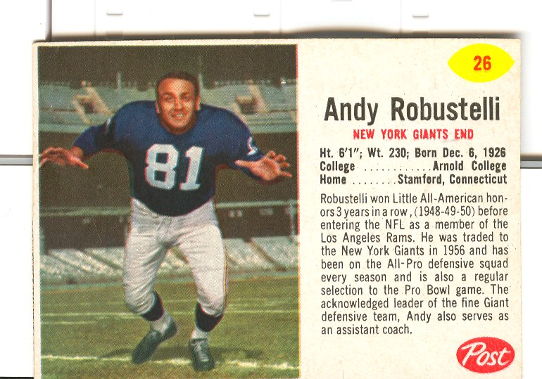 1962 Post Cereal #26 Andy Robustelli