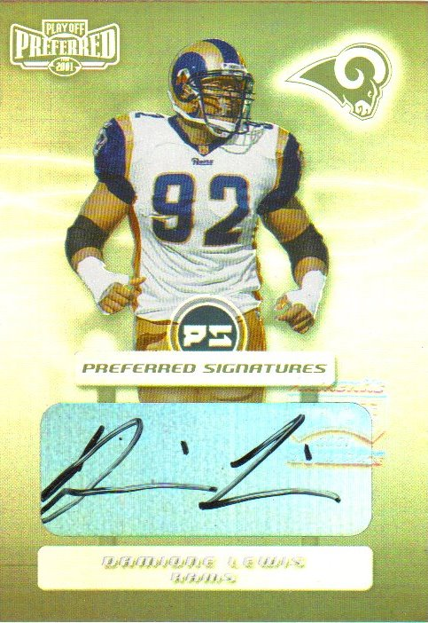 2001 Playoff Preferred Signatures Silver #17 Damione Lewis