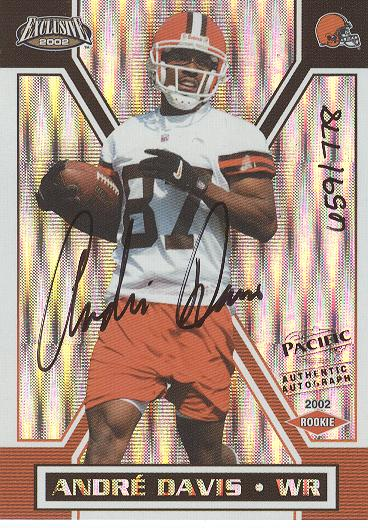 2002 Pacific Exclusive #185 Andre Davis AU/778 RC