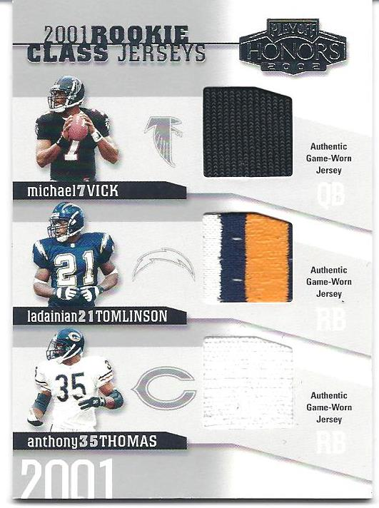 2002 Playoff Honors Rookie Class Jerseys #RC12 Michael Vick/LaDainian Tomlinson/Anthony Thomas