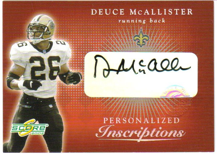 2002 Score Inscriptions Personalized #12 Deuce McAllister