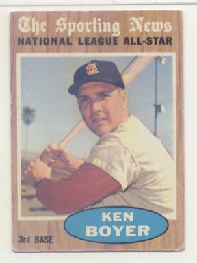 1962 Topps #392 Ken Boyer AS UER/Batting Average mistakenly listed as .392