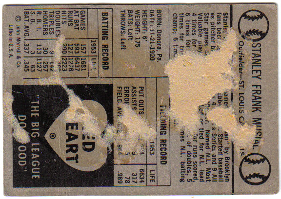 1954 Red Heart #23 Stan Musial SP
