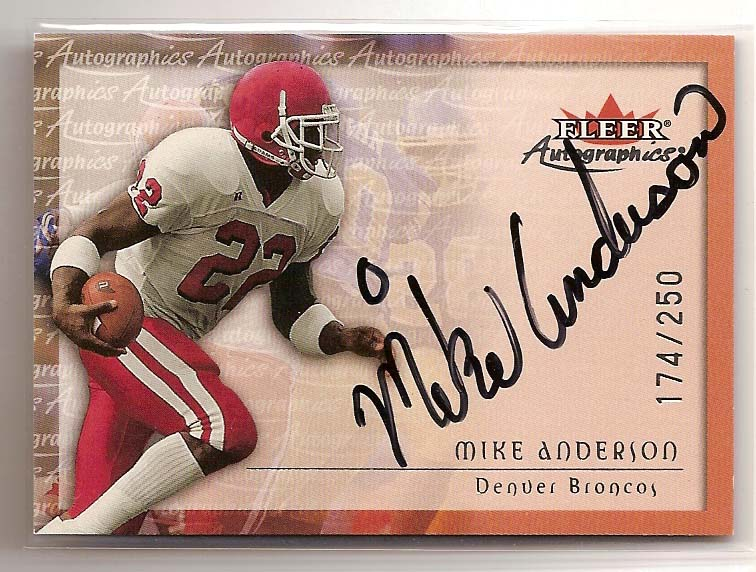 2000 Fleer Tradition Autographics Silver #8 Mike Anderson