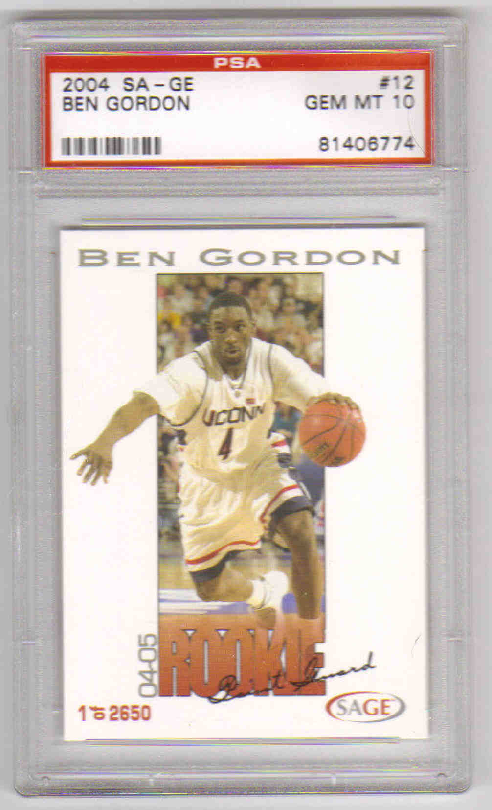 2004 SA-GE #12 Ben Gordon PSA 10 Gem Mint