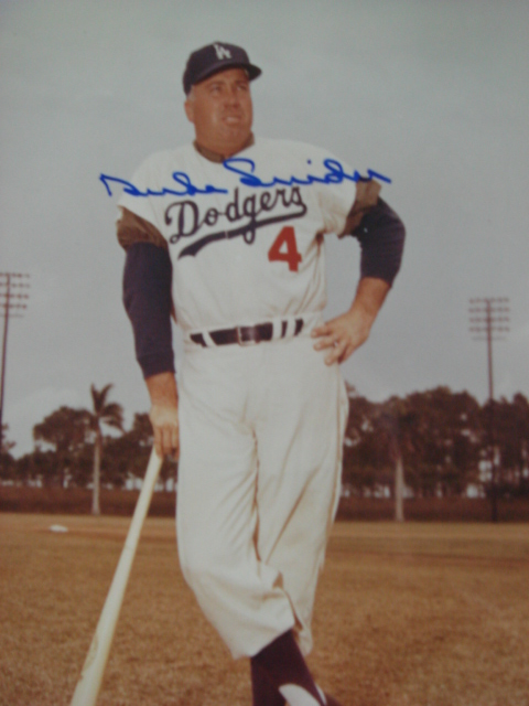 Duke Snider autographed 8 x 10 LA Dodger picture with PSA Coa