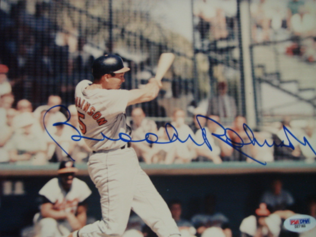 Brooks Robinson Autographed 8 x 10  Orioles picture with PSA Coa