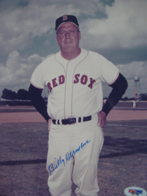 Billy Herman Autographed 8 x 10 Boston Red Sox Picture with PSA Coa