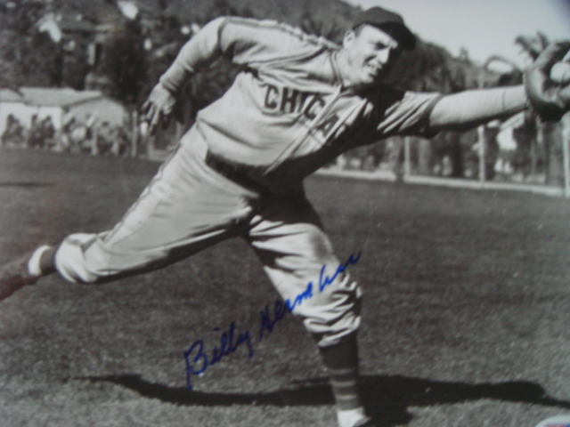 Billy Herman Autographed 8 x 10 Chicago Cubs picture with PSA Coa