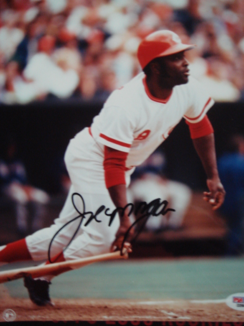 Joe Morgan  Autographed 8 x 10 Reds picture with PSA Coa