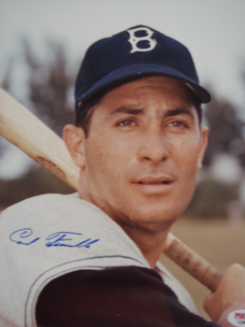 Carl Furillo Autographed 8 x 10 Brooklyn Dodgers Picture With PSA Coa