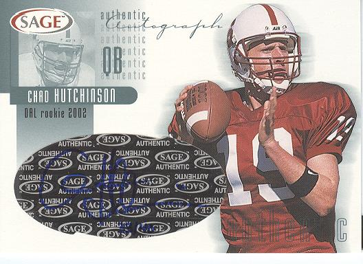 2002 SAGE Autographs Platinum #A22 Chad Hutchinson/40
