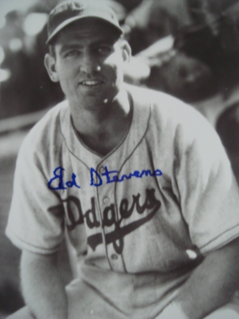 Ed Stevens autographed 8 x 10 Brooklyn Dodger picture with Coa