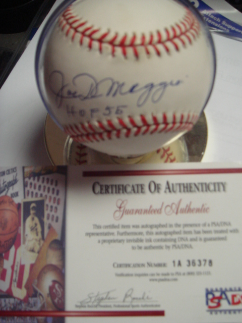 Joe Dimaggio Autographed Official AL Baseball with HOF 55 PSA Guaranteed Authentic Coa