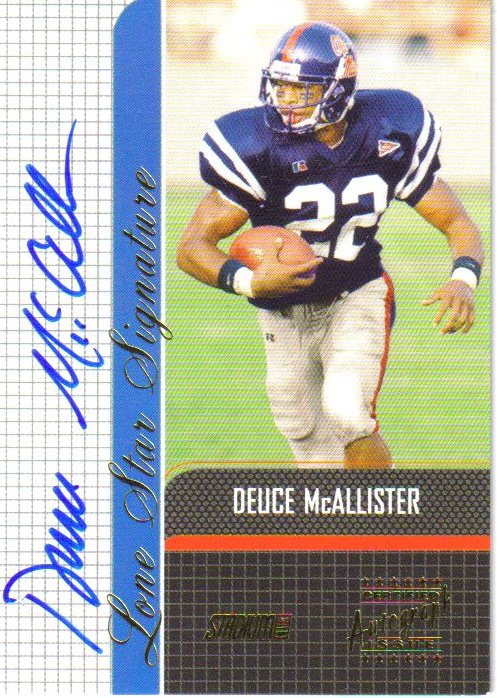 2001 Stadium Club Lone Star Signatures #LSDM Deuce McAllister 1