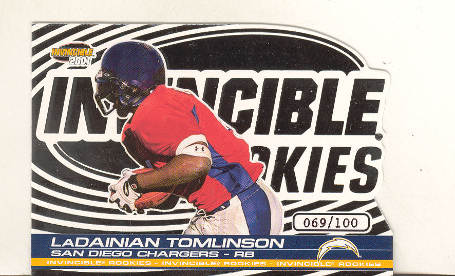 2001 Pacific Invincible Rookie Die Cuts #8 LaDainian Tomlinson