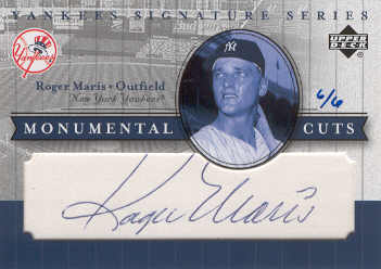 2003 Upper Deck Yankees Signature Monumental Cuts #RM Roger Maris/6 front image