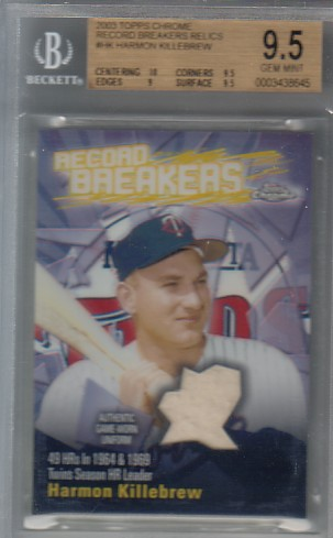 2003 Topps Chrome Record Breakers Relics #HK Harmon Killebrew Uni B1