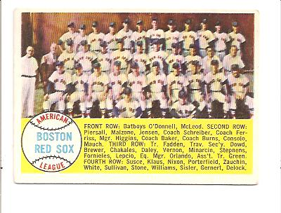1958 Topps #312 Boston Red Sox TC