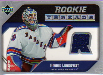 2005-06 Upper Deck Rookie Threads #RTHL Henrik Lundqvist