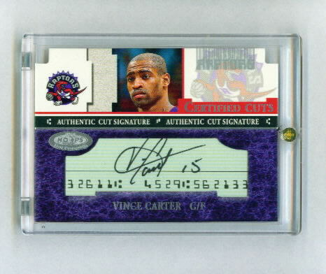 2001-02 Hoops Hot Prospects Certified Cuts #10 Vince Carter