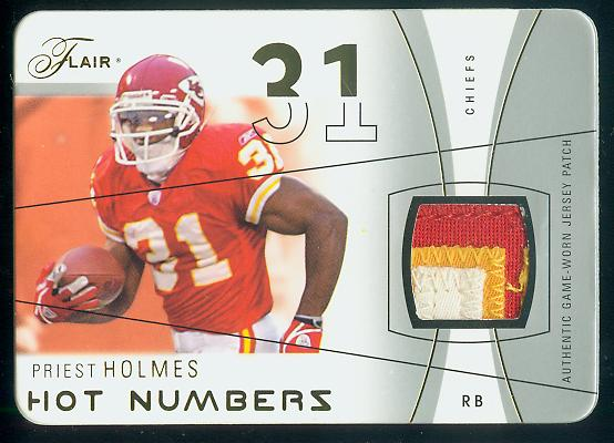 2004 Flair Hot Numbers Game Used Die Cut Patches #HNPH Priest Holmes front image