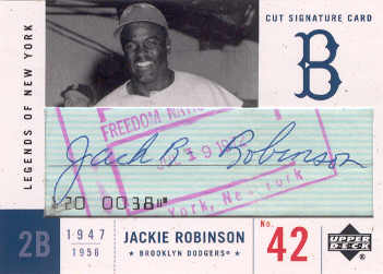 2001 Upper Deck Legends of NY Cut Signatures #LCJR Jackie Robinson/3 front image