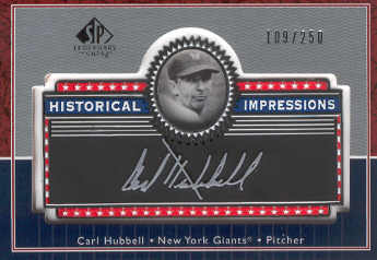 2003 SP Legendary Cuts Historical Impressions Silver #CH Carl Hubbell