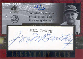 2003 SP Legendary Cuts Autographs #JO Joe McCarthy/22 front image