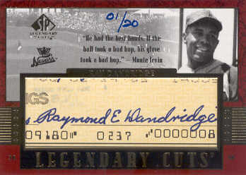 2003 SP Legendary Cuts Autographs #RD Ray Dandridge Hands/20 front image